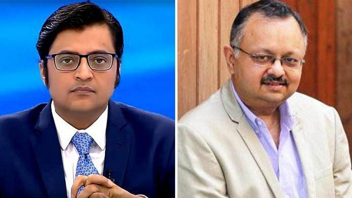 File image of Republic TV Editor-in-Chief Arnab Goswami (L) and former BARC chief executive Partho Dasgupta | Photos via Facebook & Twitter