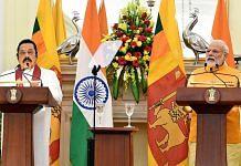 File image of Indian Prime Minister Narendra Modi (right) with his Sri Lankan counterpart Mahinda Rajapaksa | Photo: ANI