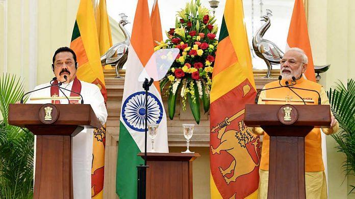 File image of Indian Prime Minister Narendra Modi (right) with his Sri Lankan counterpart Mahinda Rajapaksa   Photo: ANI