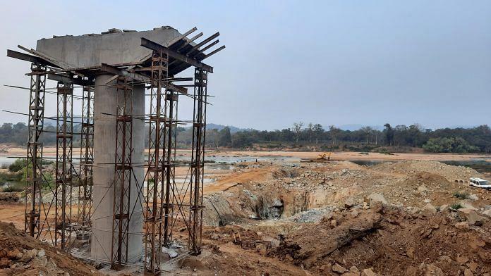 An under-construction bridge on the Indravati river that will connect Abujhmad   Ashutosh Bharadwaj