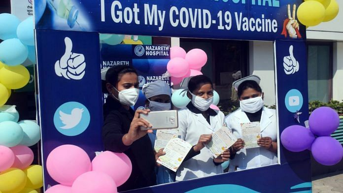 Frontline workers click selfies after getting the Covid-19 vaccine, in Prayagraj on 4 February   Representational image   ANI
