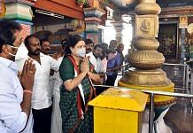 VK Sasikala during a visit to a temple in Hosur, on 8 February 2021 | ANI Photo