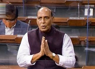 Union Defence Minister Rajnath Singh speaks in the Lok Sabha during ongoing Budget Session of Parliament, in New Delhi | PTI