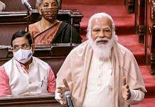 Prime Minister Narendra Modi speaks in the Rajya Sabha during ongoing Budget Session of Parliament on 9 February, 2021| PTI