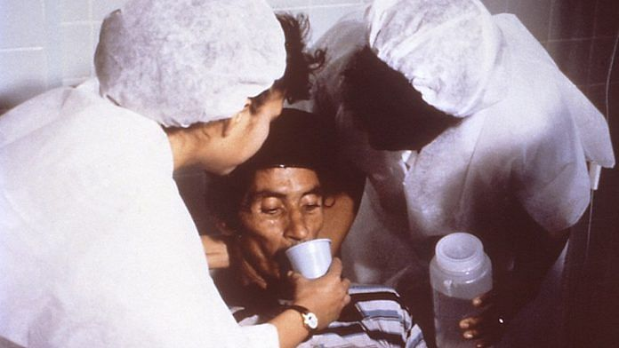 Representational image   A cholera patient being given oral rehydration solution (ORS)   Wikimedia Commons