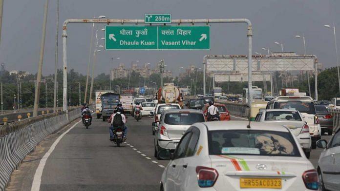 (Representational image) The Rs 9,000-crore expressway will provide an alternate road link between Gurugram and Delhi | Photo: Suraj Singh Bisht | ThePrint