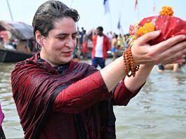 Congress leader Priyanka Gandhi taking a holy dip in Sangam | Twitter
