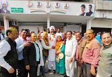 Congress candidates celebrate in Bathinda after the winning majority in Punjab Municipal Election on 17th February 2021 | Twitter/@SevadalPB