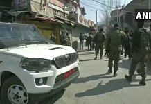 Security forces in Baghat Barzulla of Srinagar district after a militant attack on 19 February 2021 | Twitter/ANI