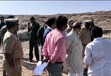 Karnataka Home Minister Basavaraj Bommai visits the blast site at Hirenagavalli in Chikkaballapur, Karnataka on 23 February