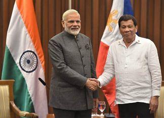 File photo of Prime Minister Narendra Modi and Rodrigo Duterte, president of the Philippines | Twitter | @narendramodi