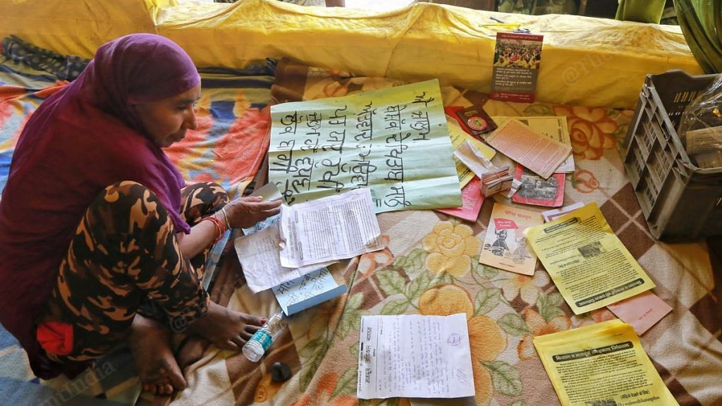 Farmers from Punjab are now living in the tent set up by Nodeep Kaur and her colleagues in the MAS at Singhu Border outside Delhi | Photo: Manisha Mondal | ThePrint