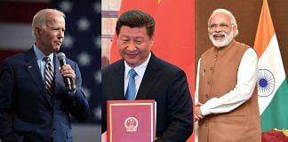 (L-R) Joe Biden, Xi Jinping, and Narendra Modi | ThePrint