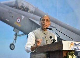 Defence Minister Rajnath Singh inaugurated the second production line for LCA Tejas in Bengaluru Tuesday | By special arrangement