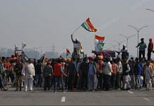 Farmers blocking Kundli-Manesar-Palwal Expressway near Singhu border as part of their country wide 'chakka jam' on 6 February 2021 | Suraj Singh Bisht | ThePrint