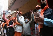 VHP and RSS members at their Ram Mandir donation drive in Naraina, Delhi | Photo: Manisha Mondal/ThePrint.