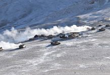 Indian and Chinese armoured columns pulling back from Rechin La on the southern side of Pangong Tso Wednesday | Credit: Army