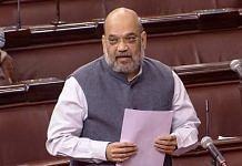 Union Home Minister Amit Shah speaks in the Rajya Sabha during ongoing Budget Session of Parliament, in New Delhi, Tuesday, Feb. 9, 2021. | PTI