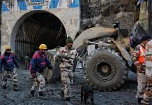 Rescue work underway at the Tapovan tunnel in Chamoli district, Uttarakhand, on 8 February 2021