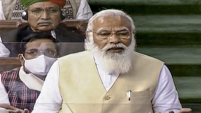 Prime Minister Narendra Modi speaks in the Lok Sabha during the ongoing Budget Session of Parliament, in New Delhi, Wednesday, Feb. 10, 2021. | PTI