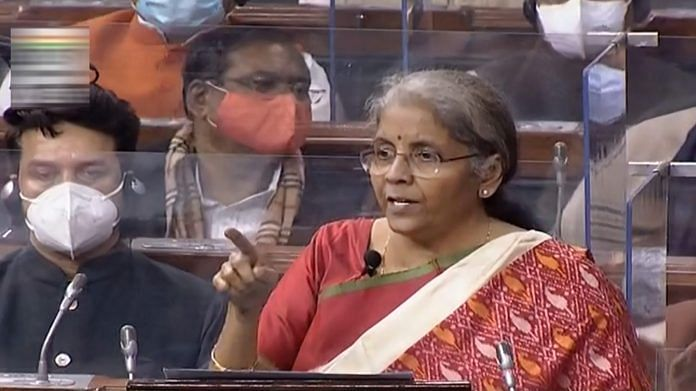 Union Finance Minister Nirmala Sitharaman speaks at Lok Sabha during the Budget Session of the Parliament, in New Delhi, Monday, Feb. 1, 2021. | PTI