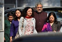 File photo of Priya Ramani (front left) outside the Patiala House Court in New Delhi | PTI Photo