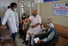 Senior citizens wait for their turn at Rajiv Gandhi hospital | Photo: Suraj Singh Bisht | ThePrint