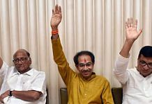 File image of Congress leader Balasaheb Thorat (right) with NCP chief Sharad Pawar (left) and Shiv Sena president Uddhav Thackeray when the Maha Vikas Aghadi government was formed in 2019 | Representational photo: ANI