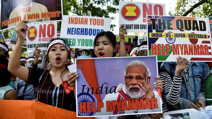 Representational image of Myanmarese refugees urging India to help their country after the military overthrew the civilian government on 1 February | Photo: ANI