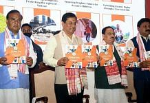 (From left) Assam cabinet minister Himanta Biswa Sarma, CM Sarbananda Sonowal, BJP chief J.P. Nadda and state party president Ranjeet Kumar Dass with the manifesto for the 2021 assembly polls | Photo: ANI