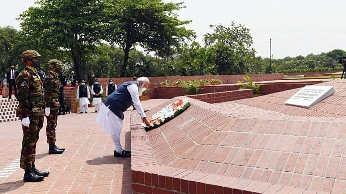 PM Narendra Modi pays tribute at the National Martyrs' Memorial in Dhaka Friday | ANI