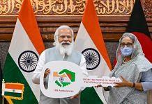Prime Minister Narendra Modi with Bangladesh PM Sheikh Hasina on 27 March | PTI