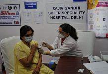 A senior citizen is getting the Covid vaccine at Rajiv Gandhi Super Specialty Hospital in New Delhi | Photo: Suraj Singh Bisht