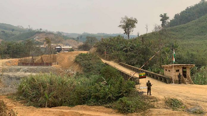 A bailey bridge at Mizoram's Zorinpui, on the Indo-Myanmar border, leads into the neighbouring country. Zorinpui is the point where the roadways section of the Kaladan project enters India | Amrita Nayak Dutta | ThePrint