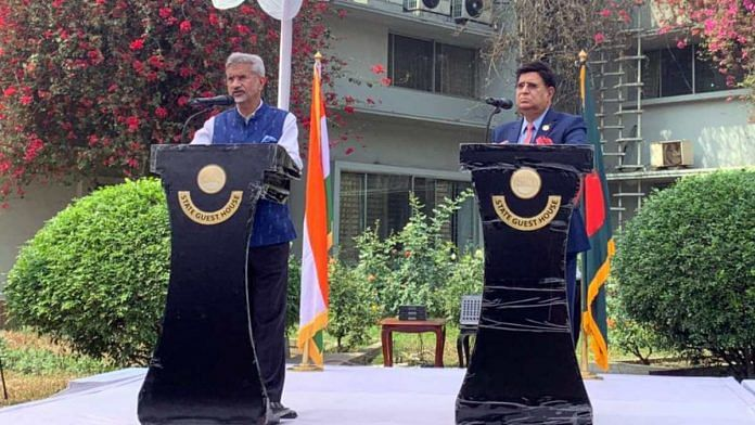 External Affairs Minister S. Jaishankar during a discussion with his Bangladeshi counterpart Dr A K Abdul Momen, in Dhaka on 4 March 2021 | ANI