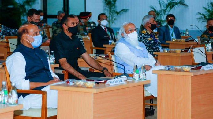 Prime Minister Narendra Modi and Defence Minister Rajnath Singh at Combined Commanders Conference in Gujarat's Kevadia on 6 March 2021 | PIB