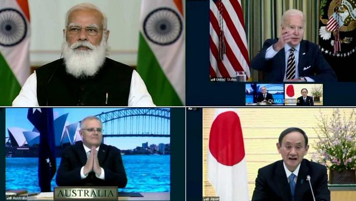 Prime Minister Narendra Modi takes part in the First Quad Leaders' Virtual Summit with US President Joe Biden, Australian PM Scott Morrison and Japanese PM Suga, in New Delhi on 12 March 2021 | ANI