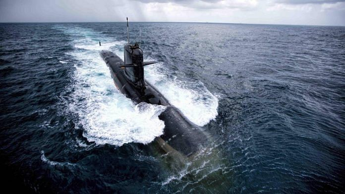 File photo of the second Scorpene class submarine | Indian Navy | Twitter