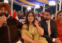 Punjab CM Amarinder Singh sings at his granddaughter's wedding | Twitter/rinkudhillon