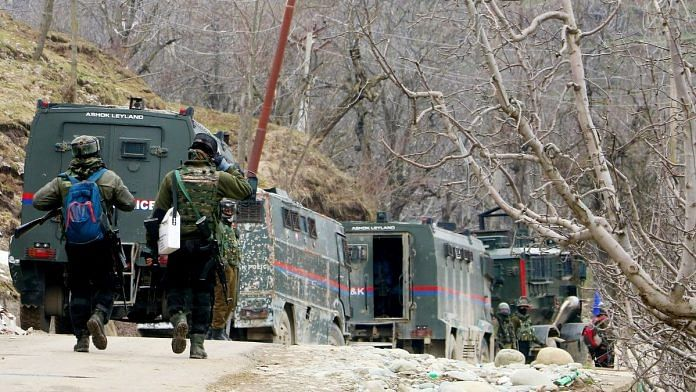 File photo of Indian Army personnel during an encounter with terrorists in Shopian, on 15 March 2021 | Photo: Amin War | ANI