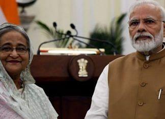 A file photo of Prime Minister Narendra Modi and his Bangladesh counterpart Sheikh Hasina   Photo: ANI
