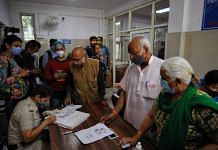 Second priority vaccine recipients wait to receive their shot at the Rajiv Gandhi hospital in New Delhi on 1 March 2021 | Suraj Singh Bisht | ThePrint