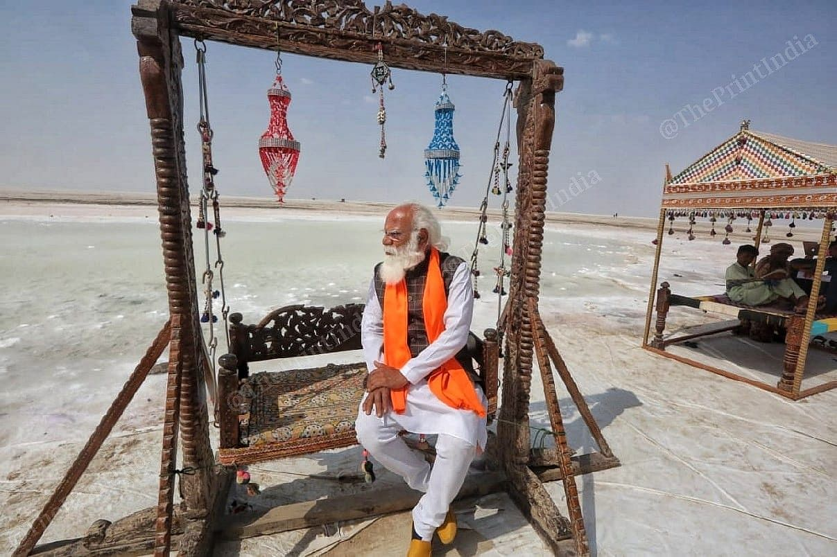 In the white desert of Kutch Lalji Devaria enjoys the swing | Photo: Praveen Jain | ThePrint
