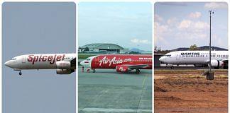 Spicejet, Air Asia and Qantas flights (L-R) | Flicker photos