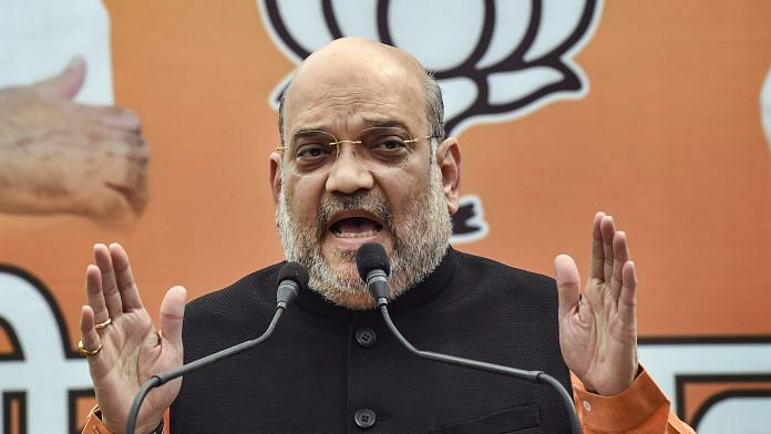Union Home Minister Amit Shah speaks to media representatives, at his residence in New Delhi, Sunday, 28 March, 2021. | PTI
