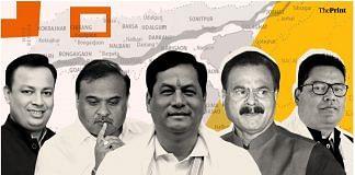 (From left to right) BJP leaders Pulak Gohain, Himanta Biswa Sarma, Sarbananda Sonowal, Chandra Mohan Patowary and Tapan Gogoi.   Illustration: Soham Sen/ThePrint