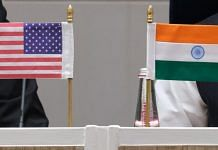 India and US flags seen during a news conference at Vigyan Bhawan in New Delhi | Bloomberg Photo