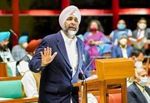 Punjab Finance Minister Manpreet Singh Badal during his budget speech in the assembly in Chandigarh. | Photo: Twitter/@MSBADAL