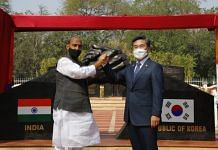 Defence Minister Rajnath Singh and Minister of National Defence of South Korea Suh Wook at the inauguration of the Indo-Korean Bilateral Friendship Park in Delhi cantonment, on 26 March 2021 | Twitter/@DefenceMinIndia