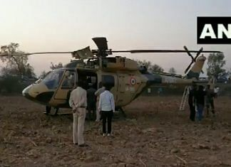 A screengrab showing the Dhruv helicopter at the site of its emergency landing in Gujarat Saturday | Twitter | @ANI